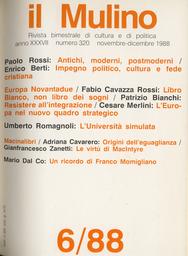 Copertina del fascicolo dell'articolo Un ricordo di Franco Momigliano